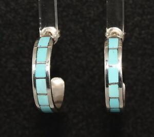 Turquoise-Inlay-Zuni-Hoop-Earrings-by-Tina-Haloo-Zuni