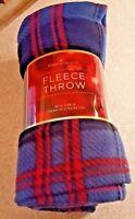New. Home Classics Blue/red Plaid Fleece Throw 46 X 56