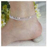 Fashion Women 925 Silver Plated Crystal Chain Bangle Cuff Charm Bracelet Jewelry