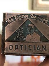 Vintage Wood Amp Metal Metal Printing Print Block Stamps Optician