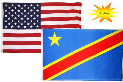 3x5 USA Police Blue North Carolina State 2 Pack Flag Wholesale Set Combo 3/'x5/'