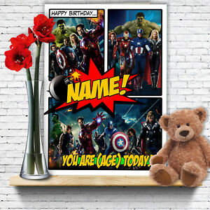 Image Is Loading EXTRA LARGE Avengers Personalised A4 Birthday Card Thor