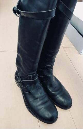 Unbilical Black Leather Over the Knee Boots