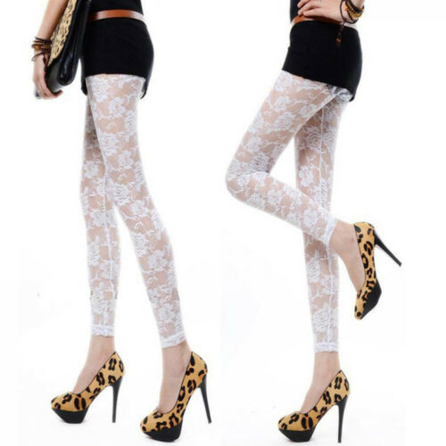 UK New Women Floral Lace Footless Through Rose Hollow Tights