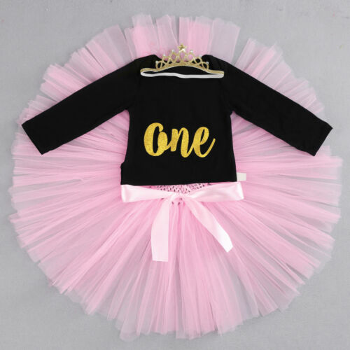 Birthday Romper Tutu Skirt Cake Smash Clothes 2pcs Outfits for Toddler Baby Girl