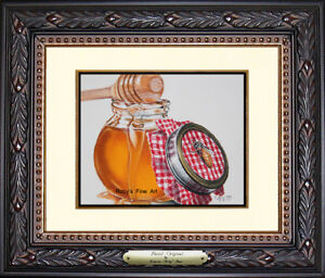 Original-Pastel-Bee-Painting-034-Queen-of-Gingham-034-by-Pastel-Artist-Roby-Baer-PSA