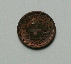 1900 B SWITZERLAND Swiss Coin - 1 Rappen - AU++ toned-lustre