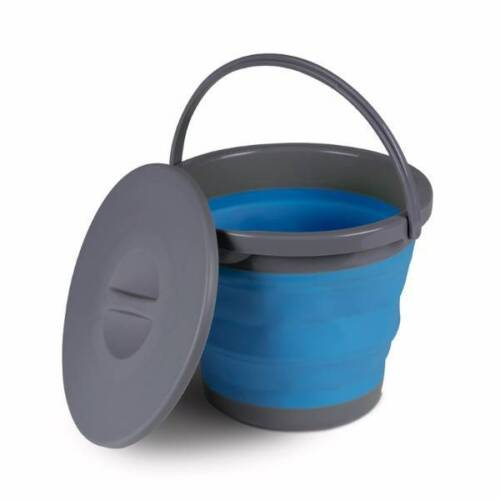 5 Litres Bleu Pliant Chapeau Bob With Lid Camping Caravaning Tente Événement