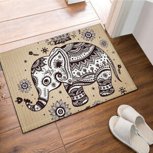 Etonnant Image Is Loading Bohemia Elephant And Lotus Bathroom Rug Non Slip