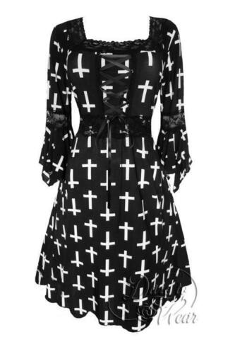 Plus Size White Cross Joan of Arc Gothic Renaissance Corset Dress 1X 2X 3X 4X 5X