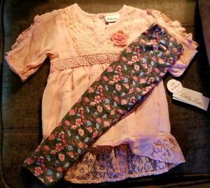 Little-Lass-2-Piece-Set-Flower-Leggings-Toddler-2T-Girls-Crochet-Lace-New-Nice