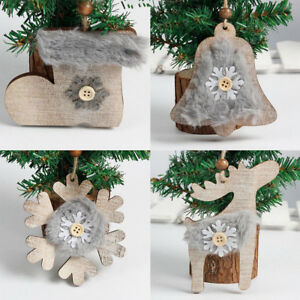 Details About Christmas Tree Wooden Pendant Hanging Furry Snowflake Bell Shoes Diy Xmas Decor