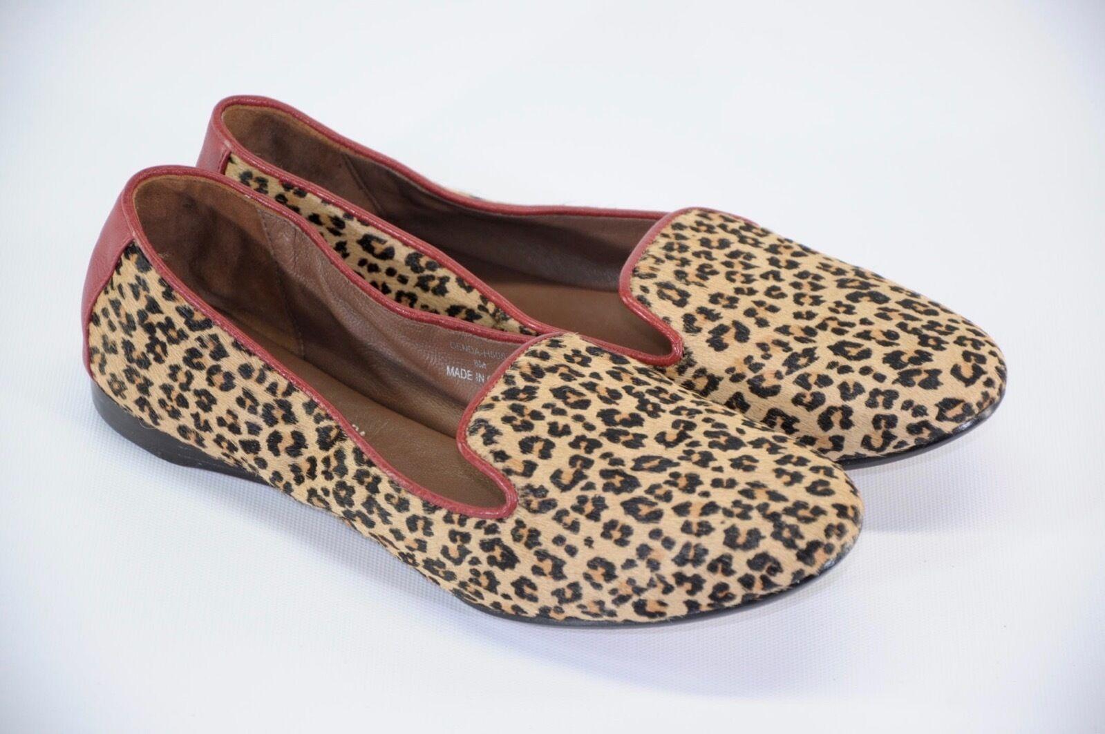 Donald J. Pliner Denda Leopard Print Red Leather Pony Calf Hair Flats Loafers 8M