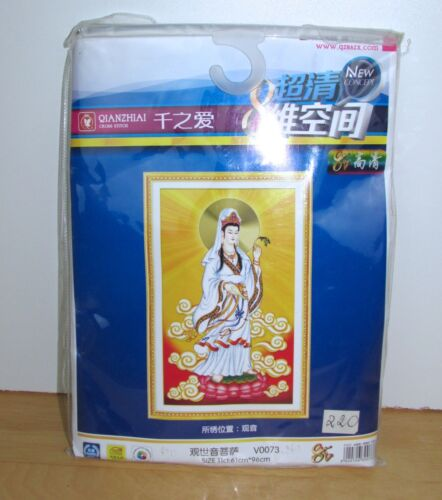 Buddhist Goddess Mercy Pattern Printed Cross Stitch Pattern Qianzhiai DMC 5D