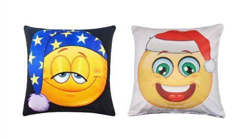 "Rempli Moderne Réversible Noël Funky Emoji DOUX VELOURS COUSSIN 17/"" 43 cm"