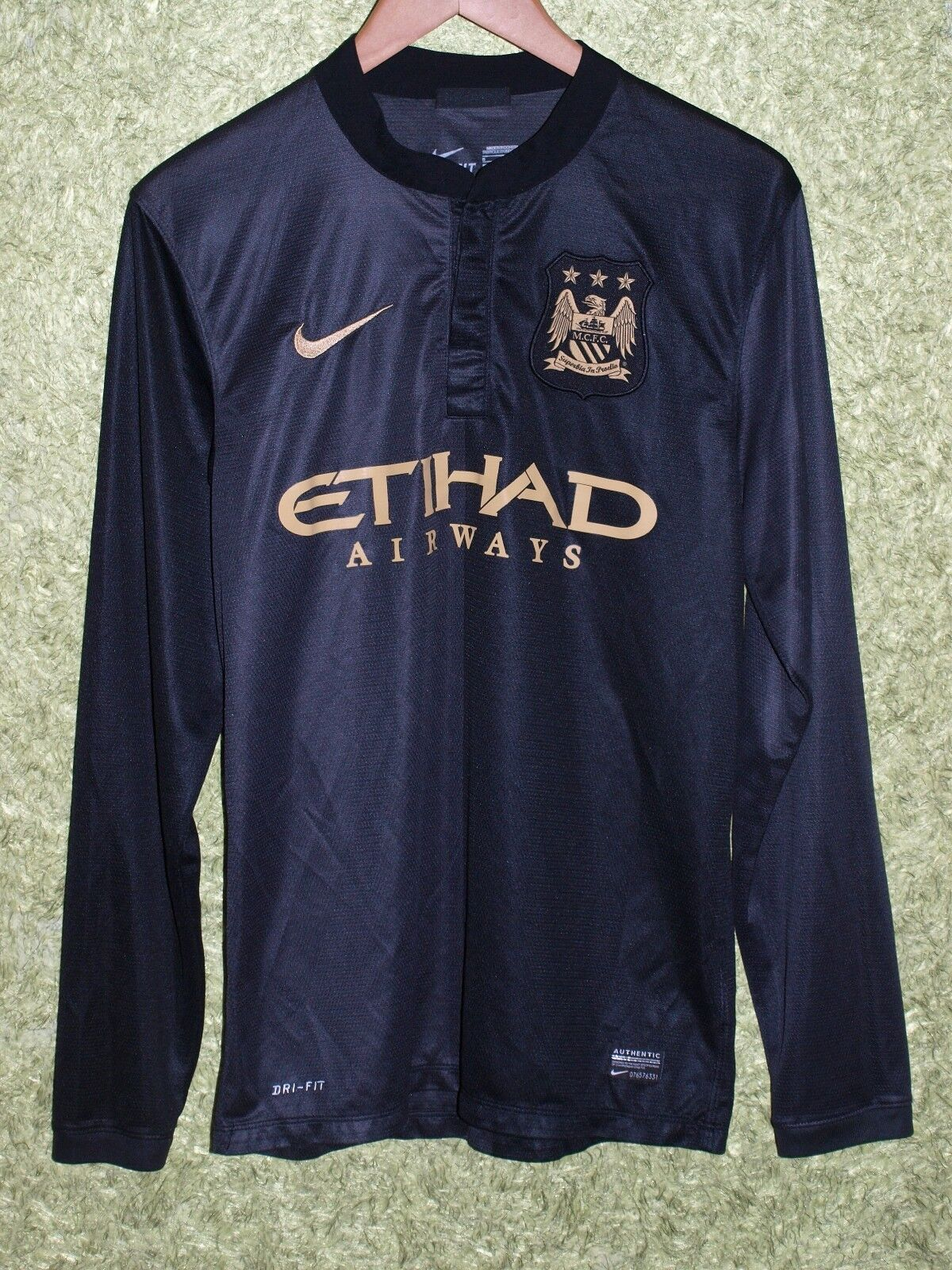 9a87e4d06 MANCHESTER CITY 2013 2014 LONG SLEEVE AWAY FOOTBALL SHIRT JERSEY NIKE SIZE S