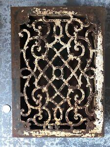 Vintage-Ornate-Victorian-cast-iron-floor-register-heat-grate-8x12