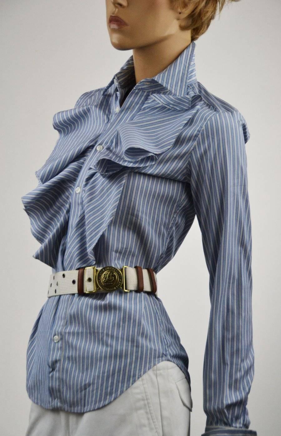 Ralph Lauren Sport Blau & Weiß Stripe Long Sleeve Blouse  Shirt - NWT