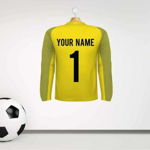 Personalised Yellow Goalkeeper Football Shirt Wall Sticker With Name /& Number