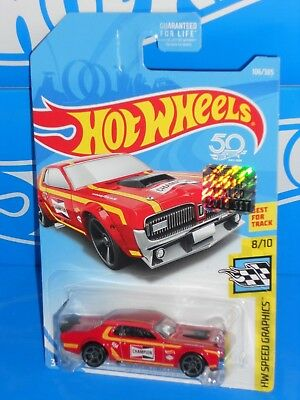 Hot Wheels 2018 HW Speed Graphics 8//10 /'68 Mercury Cougar 106//365 BBFJW48