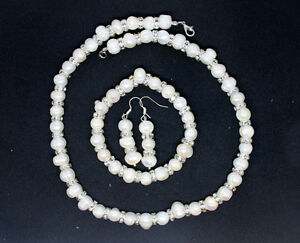 Sterling-Silver-Genuine-Fresh-Water-Pearl-Earrings-Necklace-Set