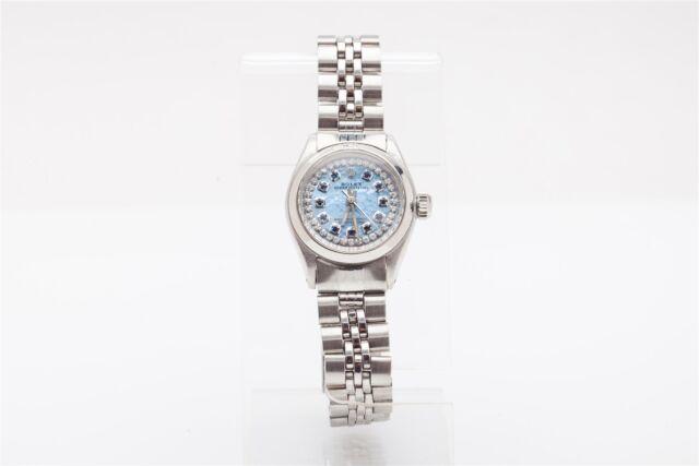 Estate $7000 Sapphire Diamond BLUE MOP Oyster Ladies Genuine ROLEX Watch BOX WTY