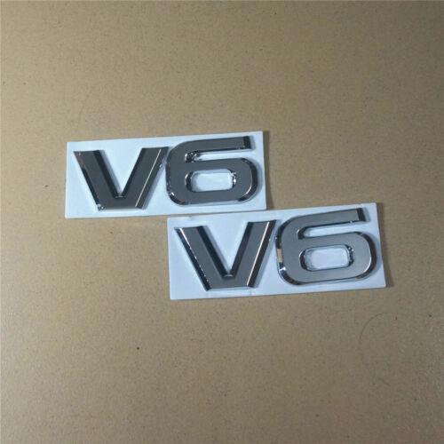 2x V6 Chrome Huge Metal Badge Sticker Emblem Auto Car Logo Sport Engine Limited