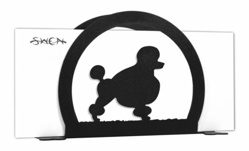 SWEN Products POODLE Dog Black Metal Letter Napkin Card Holder