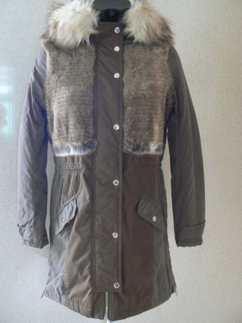 River Island Parka Faux Fur Body Hooded Coat /Jacket UK Size 6 NEW TAGS
