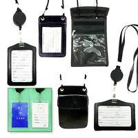 2- Id Card Holder Badge Retractable W/ Neck Strap Black, Color,leather,plastic