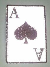 "(SS) Reflective ACE OF SPADES 2"" x 3"" iron on patch (3450) Biker Vest cap"