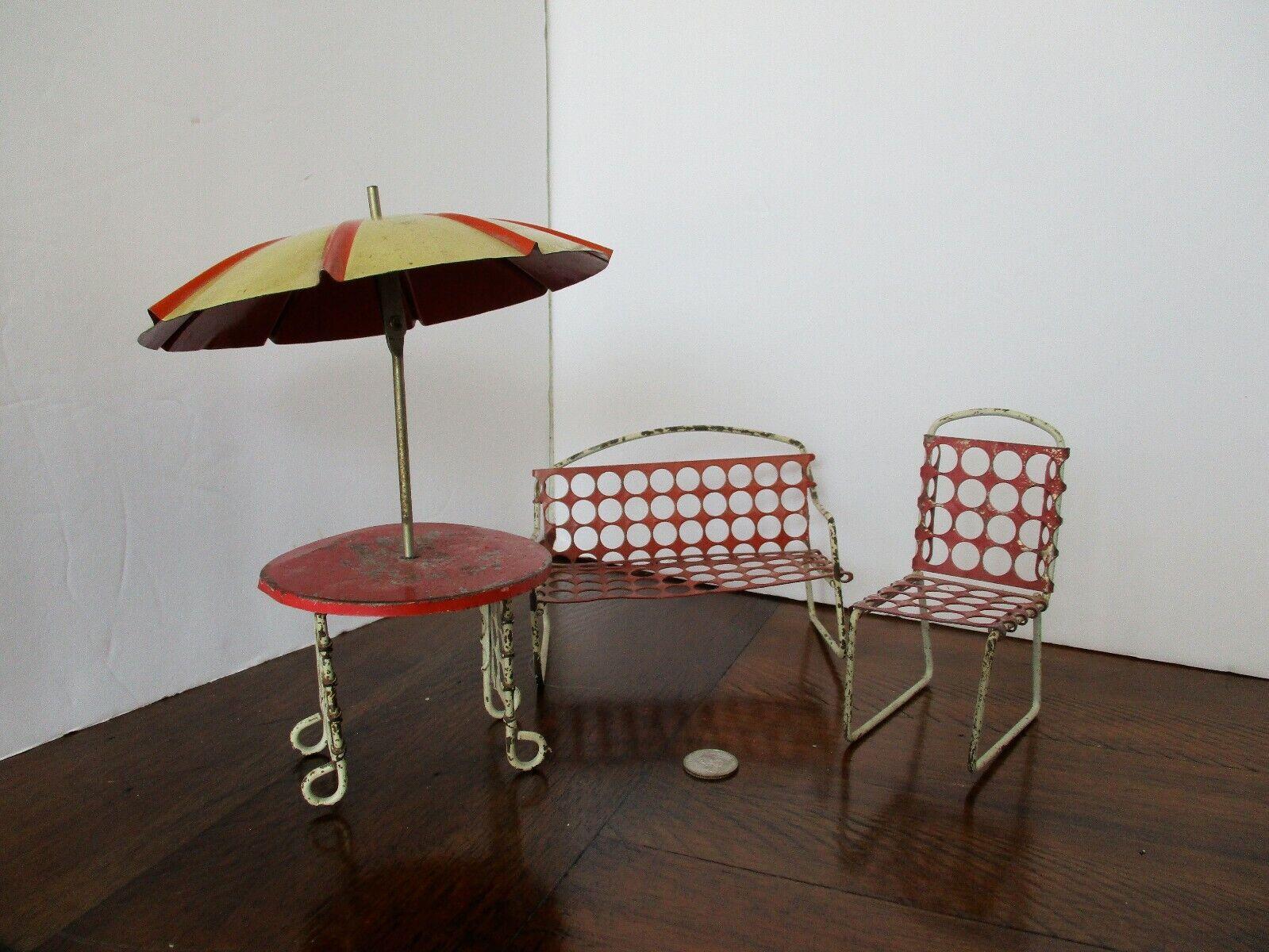 Art Deco TIN LITHOGRAPH Metal PATIO SET Bench Chair Table w Tilt Umbrella - RARE