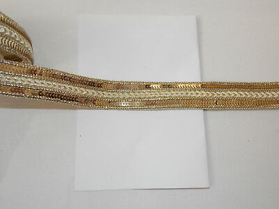20mm gold glitter embroidered ribbon applique motif trimming decor