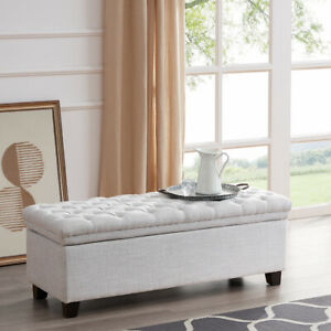 Miraculous Details About 48 Rectangular Laguna Tufted Ottoman Footrest Fabric Large Storage Bench White Creativecarmelina Interior Chair Design Creativecarmelinacom