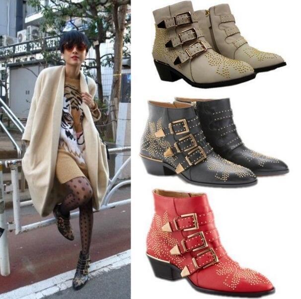 Womens Punk Studded Buckle Low Heel Fashion Rocker Cowboy Ankle Boots shoes Plus