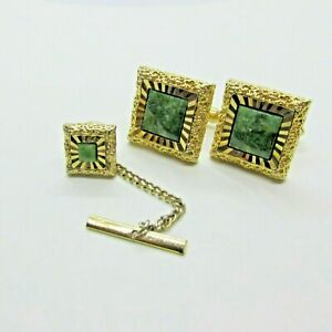 Vintage-Green-Agate-Stone-Cuff-Links-Tie-Tack-Set-Textured-Gold-Tone-Swank