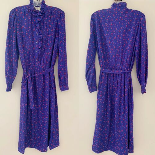 Vintage royal purple ditsy floral belt dress