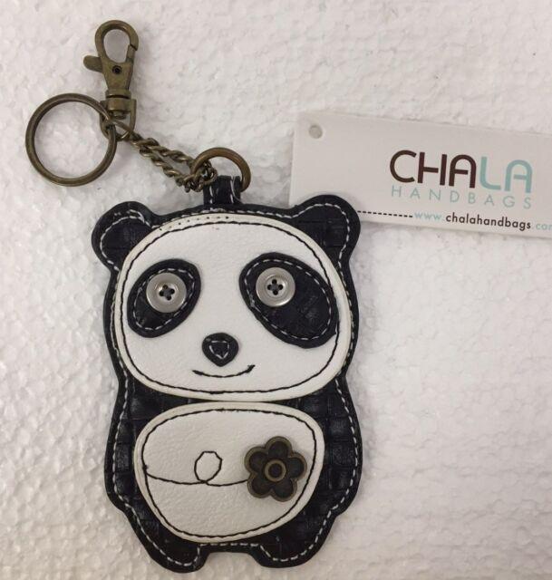 Chala Panda Bear Black /& White Key Chain Charm FOB Ring Coin Purse New