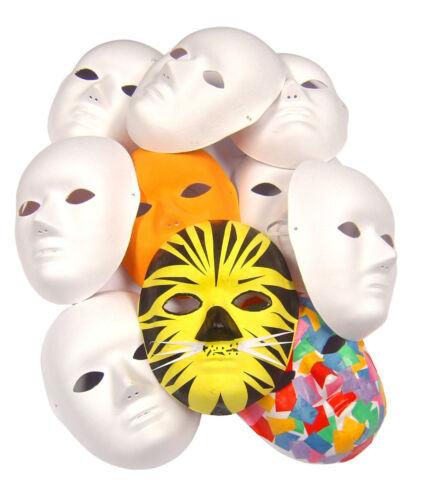 Plain White Cane Fibre Face Mask Biodegradable Fancy Dress Paper Mache Lot 7073