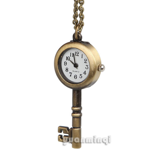 Steampunk Key Bronze Tone White Face Quartz Fob Pocket Watch Charm Necklace Gift