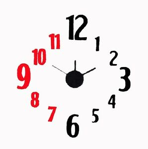 DIY Wall Clock 3D Sticker Frameless Clock Creative Design DWC08101
