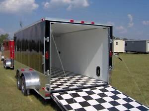 7x16 Enclosed Atv Cargo Motorcycle Trailer Black Finished
