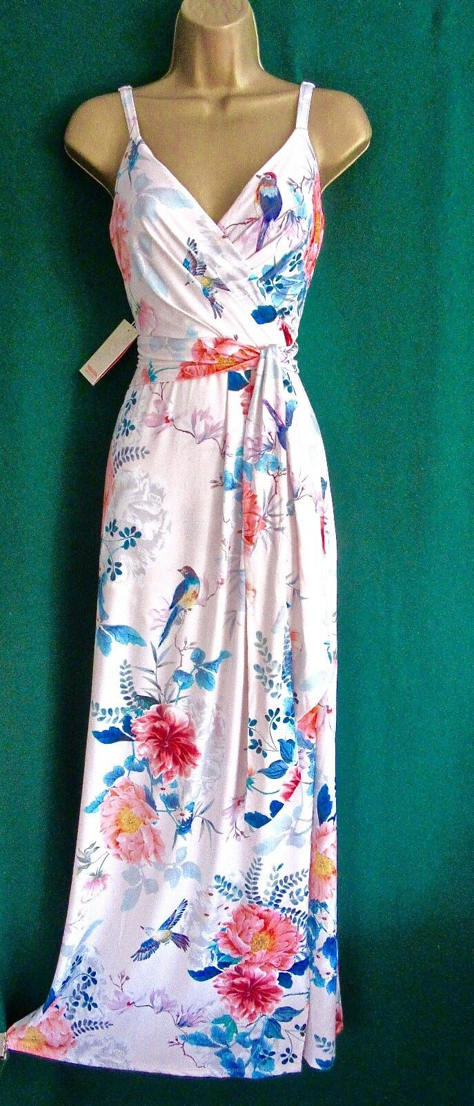 New MONSOON Pale Pink Floral JOSEPHINE Stretch Jersey Holiday MAXI Dress 10 - 14