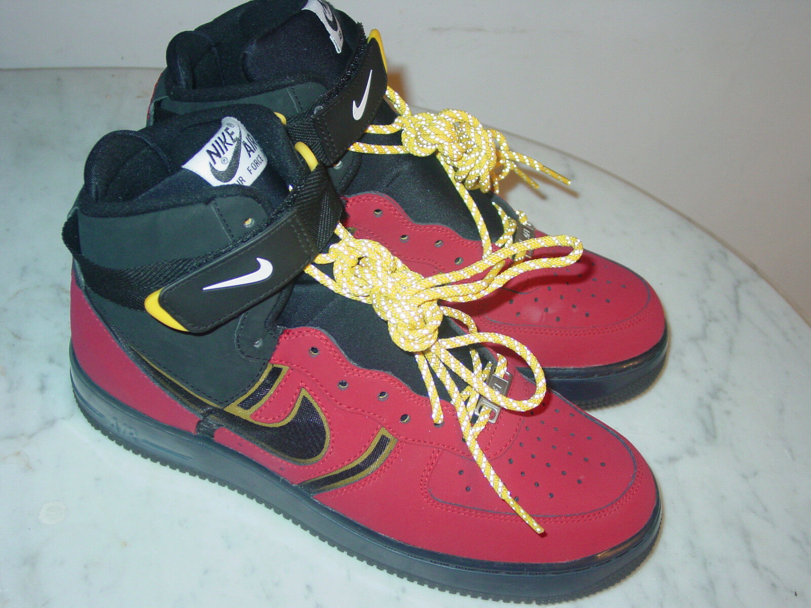 2013 Nike Air Force One Supreme Bakin University Red Black High shoes  Size 9.5