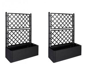 2 x gartenspalier spalier rankgitter rankhilfe pflanzkasten blumenk bel rattan ebay. Black Bedroom Furniture Sets. Home Design Ideas