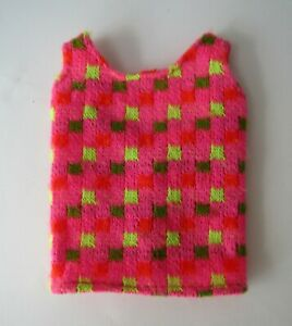 Vintage-1968-Barbie-Swimsuit-Top-Mattel-1160-Twist-N-Turn-Pink-Green-Knit