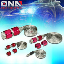 BRAIDED HOSE STAINLESS STEEL RED ENGINE DRESS UP KIT RADIATOR/VACUUM/FUEL