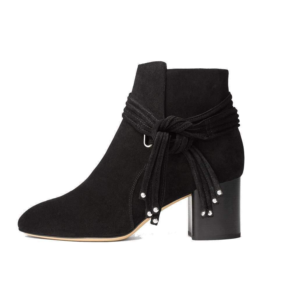 Rag & Bone DALIA Black Suede Boots Ankle Mid Heel Booties 38.5