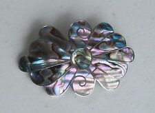 """Taxco Mexico PHS Artisan 2 5/8"""" Sterling Silver Abalone Flower Brooch Pin"""