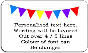Bunting Flag Colourful Personalised Labels with FREE protective wallet